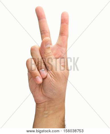 hand with two fingers concept of victory