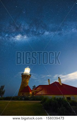 Milky way on the Barrenjoey Lighthouse at Palm Beach Sydney Australia. NOV 11.2016  Barrenjoey Lighthouse stands at Barrenjoey Head at Palm Beach on Sydney's northern beaches. Built in 1881