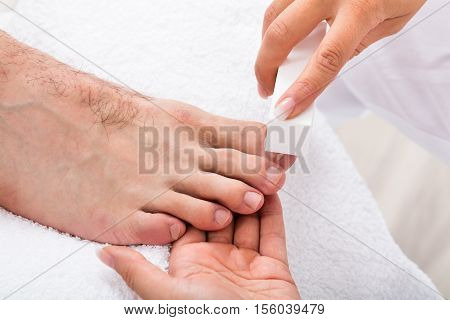 Beautician Hand Filing The Nails Of Person