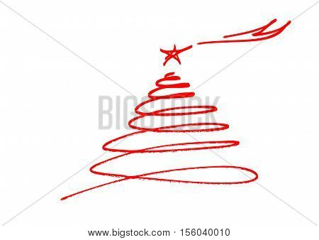 Abstract tree and star scrawled with merry christmas text