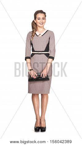 woman in official formal woolen dress high heel shoes. full length body portrait isolated on white