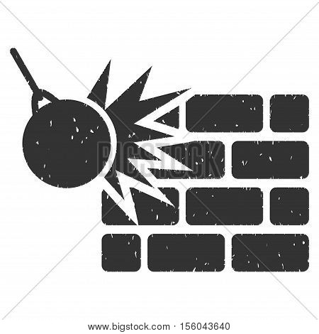 Destruction rubber seal stamp watermark. Icon vector symbol with grunge design and corrosion texture. Scratched gray ink emblem on a white background.