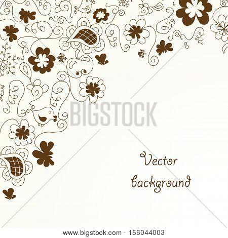 Vector brown floral design on beige background - illustration