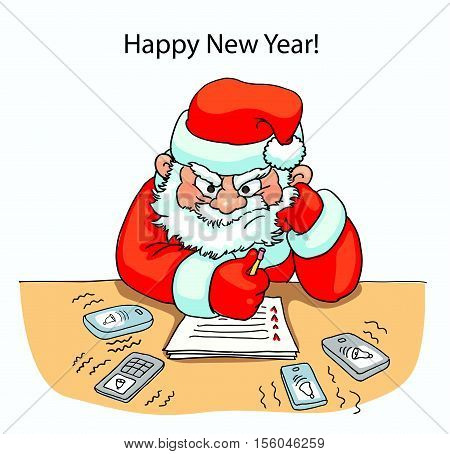 Santa sitting the table and thinking angrily near sell phones on desk ringing isolated card new year vector illustration