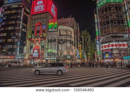 TOKYO  , JAPAN - OCTOBER 12 ,2016 : Shinjuku, Tokyo, Japan. October 12 2016 Street life and Billboards in Shinjuku's Kabuki-cho at Night.