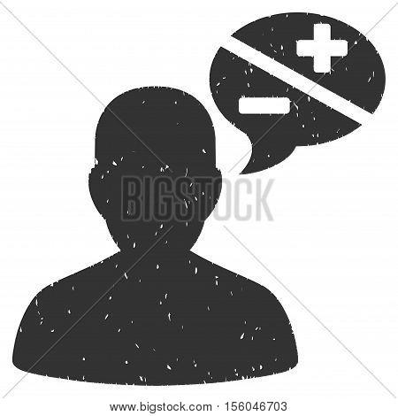 Person Arguments rubber seal stamp watermark. Icon vector symbol with grunge design and corrosion texture. Scratched gray ink sticker on a white background.