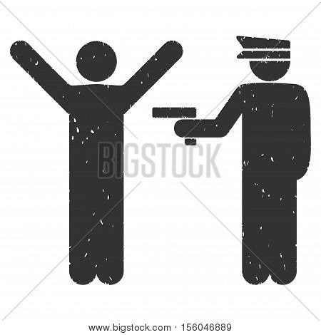 Police Arrest rubber seal stamp watermark. Icon vector symbol with grunge design and dust texture. Scratched gray ink sign on a white background.