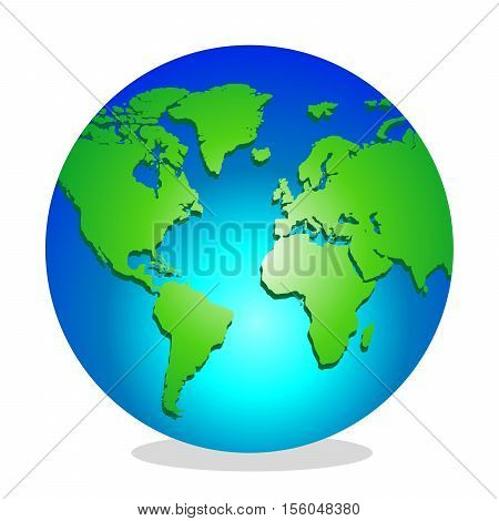 Planet Earth. Image of the globe with shadow on white background