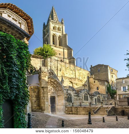 SAINT EMILION,FRANCE - SEPTEMBER 1,2016 - Monolithic Church and Bell tower of Saint Emilion. Saint Emilion is a commune in the Gironde department in southwestern France.