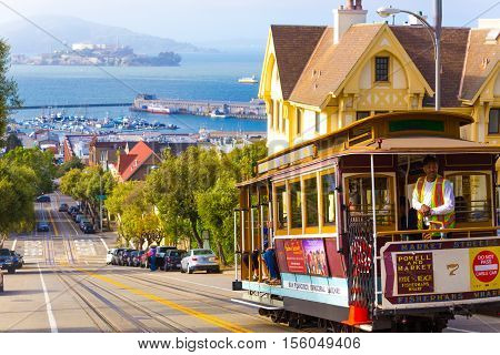 San Francisco Bay Alcatraz Cable Car Hyde St Hill
