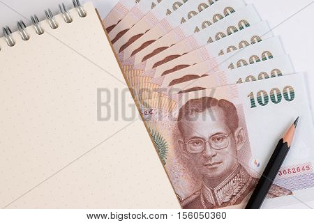 Close Up Of Thai Banknote And Paper Note, Thai Bath Banknote With The Image Of Thai King Bhumibol Ad