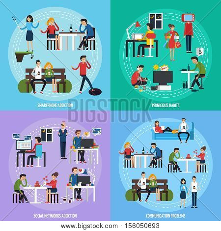 People obsessions template with different social and person addictions and problems in flat style vector illustration
