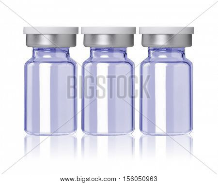 three blue little glass bottle for medical product