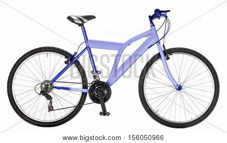 light blue mountain bike isolated on white