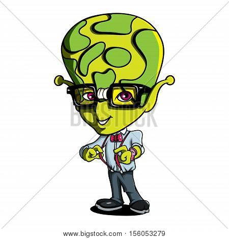 Funny Geek Nerd Cute Cartoon Alien Green Humanoid Creature Character