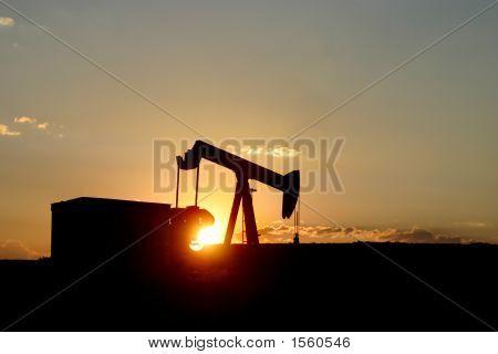 Pumpjack Sunset Horizontal