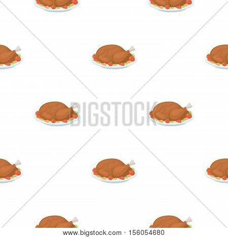 Roasted turkey icon in cartoon style isolated on white background. Canadian Thanksgiving Day pattern symbol vector illustration.