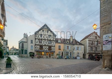 Square With Half-timbered Houses, In The Medieval Village Noyers-sur-serein