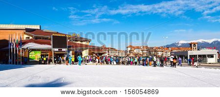 Bansko, Bulgaria - February 19, 2015: Bansko ski lift station and people queue