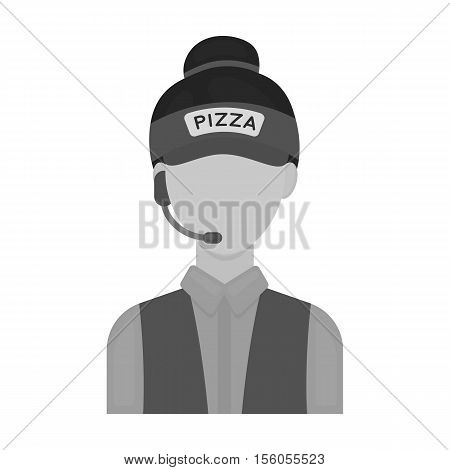 Saleswoman icon in monochrome style isolated on white background. Pizza and pizzeria symbol vector illustration.