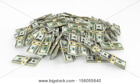 Money heap on white background. stacks of hundred dollar bills.3D render illustration.