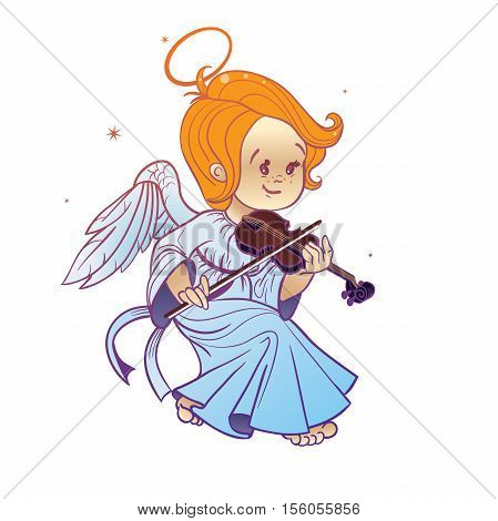 Nicely and happy smiling cute baby Christmas angel making music playing violin. Cartoon style.