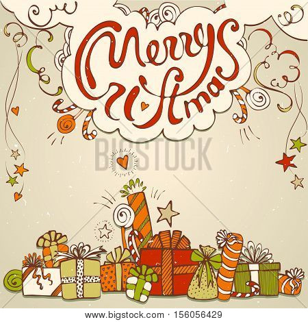 Gift box collection with merry christmas lettering in retro style and texture
