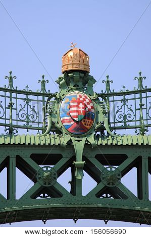 Emblem in the Freedom Bridge in Budapest, Hungary