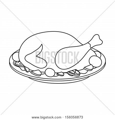 Roasted turkey icon in outline style isolated on white background. Canadian Thanksgiving Day  symbol vector illustration.