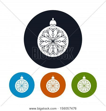 Icon of a Christmas Ball with Snowflake, Four Types of Colorful Round Icons Ball with Snowflake ,Christmas Tree Decoration, Vector Illustration