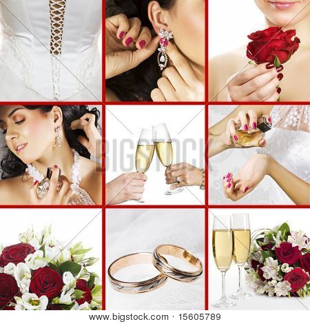 Collage of several photos for wedding theme