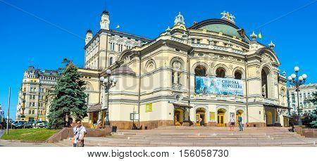 KIEV UKRAINE - SEPTEMBER 8 2016: The National Opera and Ballet Theatre of Taras Shevchenko boasts beautiful exterior on September 8 in Kiev.