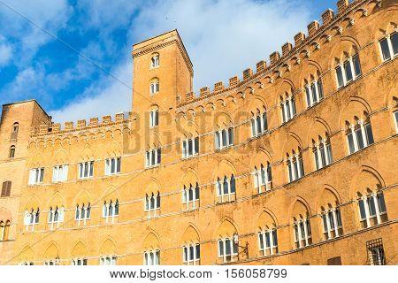 House at beautiful Piazza del Combo at Siena, Tuscany, Italy