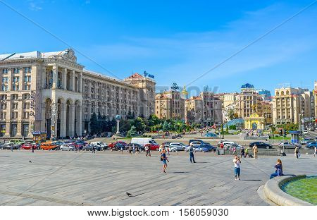 KIEV UKRAINE - SEPTEMBER 8 2016: The monumental Soviet architectural complex of Maidan Nezalezhnosti (Independence Square) with the Main Post Office building hotels and office complexes on September 8 in Kiev.