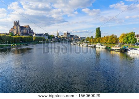 Yonne River And Churches, In Auxerre