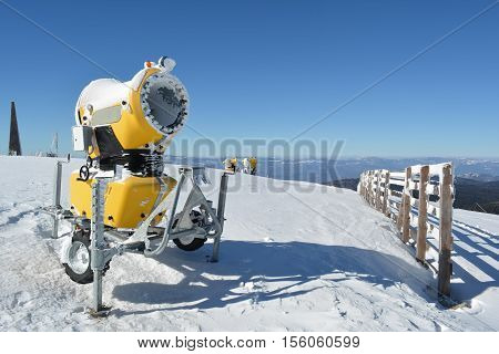 High power snow guns on the top of the mountain ready for action