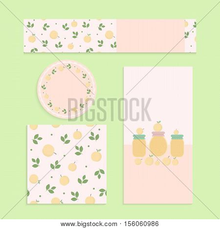 Homemade apricot jam set. Flyer banner brochure label seamless patterns with apricots leaves and jars of jam