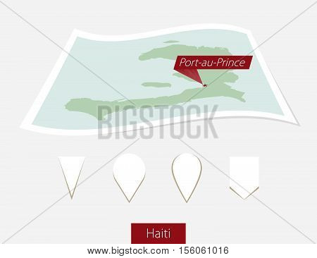 Curved Paper Map Of Haiti With Capital Port-au-prince On Gray Background. Four Different Map Pin Set