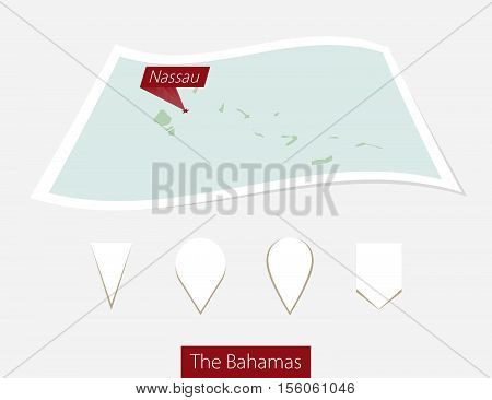 Curved Paper Map Of The Bahamas With Capital Nassau On Gray Background. Four Different Map Pin Set.