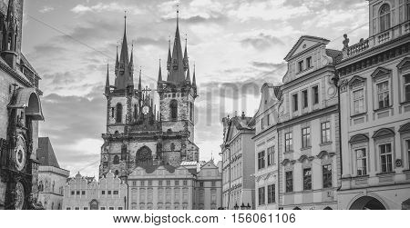 Monochrome Church of our Lady Prague - Black and white image with the Church of our Lady before Tyn and other historical buildings from the Old Town Square in Prague Czech Republic