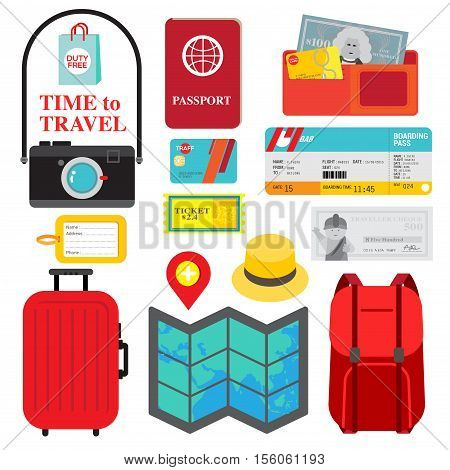 Collection of necessary things for trip is display as travel packing checklist. Colorful icons in red yellow and blue are fit to people who is ready for vocation.