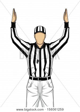 American football referee with both hands up as a touchdown vector on isolated
