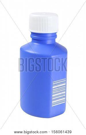 Plastic Medicine Bottle with Bar Code (randomly generated) on White Background