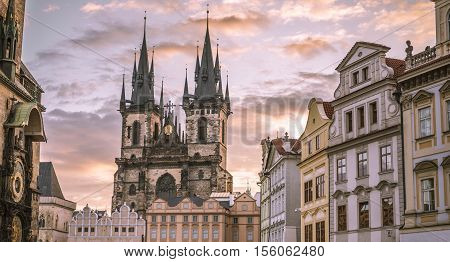 Church of our Lady before Tyn Prague - Architectural image in Old Town Square in Prague Czech Republic with the Church of our Lady before Tyn under a morning cloudy sky