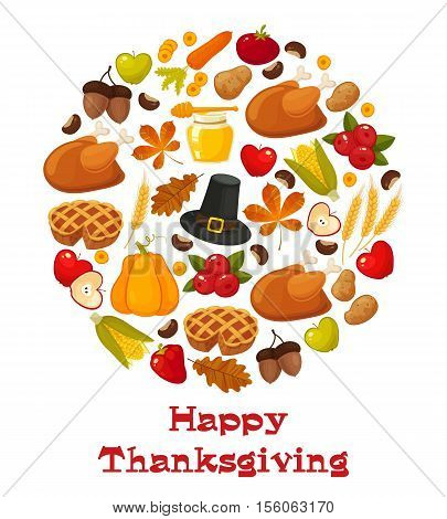 Happy Thanksgiving. Thanksgiving Day vector banner with traditional table plenty of food, roasted turkey, cornucopia with pumpkins, fruits and vegetables. Decoration for thanksgiving greeting cards