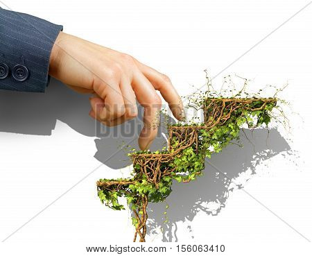 Business concept. Hand in suit steps on the career ladder in form of green plant of ivy. Growth concept. 3d illustration