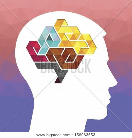 Profile of a human head with a colored low poly symbol of the brain