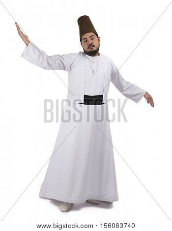 Mevlana dervish whirling isolated on white background.
