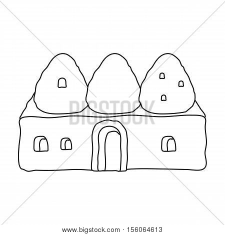 Beehive house icon in outline style isolated on white background. Turkey symbol vector illustration.