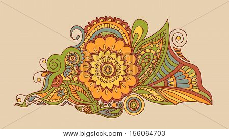 Bohemian Indian Mandala towel print. Vintage Henna tattoo style Indian medallion. Ethnic ornament could be used as shirt print, phone case print, textile, coloring book.